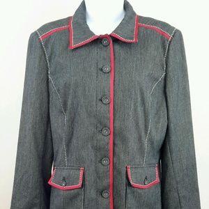 Spanner Size 8 Black White Red Pinstripe Jacket